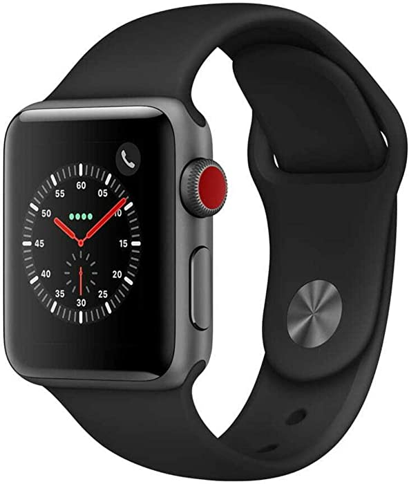 Apple Watch Series 3 (GPS + Cellular, 38MM) - Space Gray Aluminum Case with Black Sport Band (Renewed)