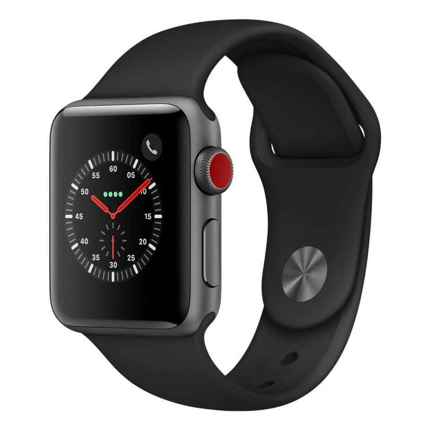 Apple Watch Series 3 42mm Smartwatch (GPS + Cellular, Space Gray Aluminum Case, Black Sport Band) (Renewed) by Apple