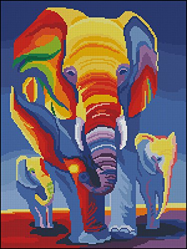 - Egyptian cotton thread Strands Counted Cross Stitch Kits ,Elephants in Rainbow 14ct 3847cm, 150200 Aida Cross Stitch Kit