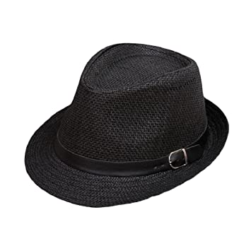 07d9f7faf03 Image Unavailable. Image not available for. Color: ShenPourtor Men/Women's  Summer Panama Style Trilby Fedora Straw Sun Hat with Leather Belt (