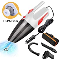 Mioke aspirador de Mano,Coche Limpiadora filtro HEPA,Seco / Húmedo 5000PA,120W 12V,Tecnología Ciclónica LED luz sin ruido con BOLSA (blanco, con cable)