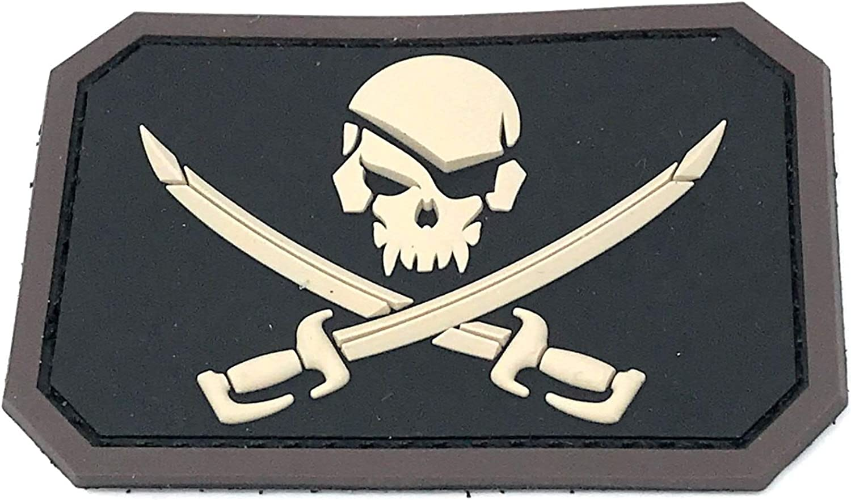 PIRATE FLAG PATCH JOLLY ROGER Skull Green Calico Jack w// VELCRO® Brand Fastener