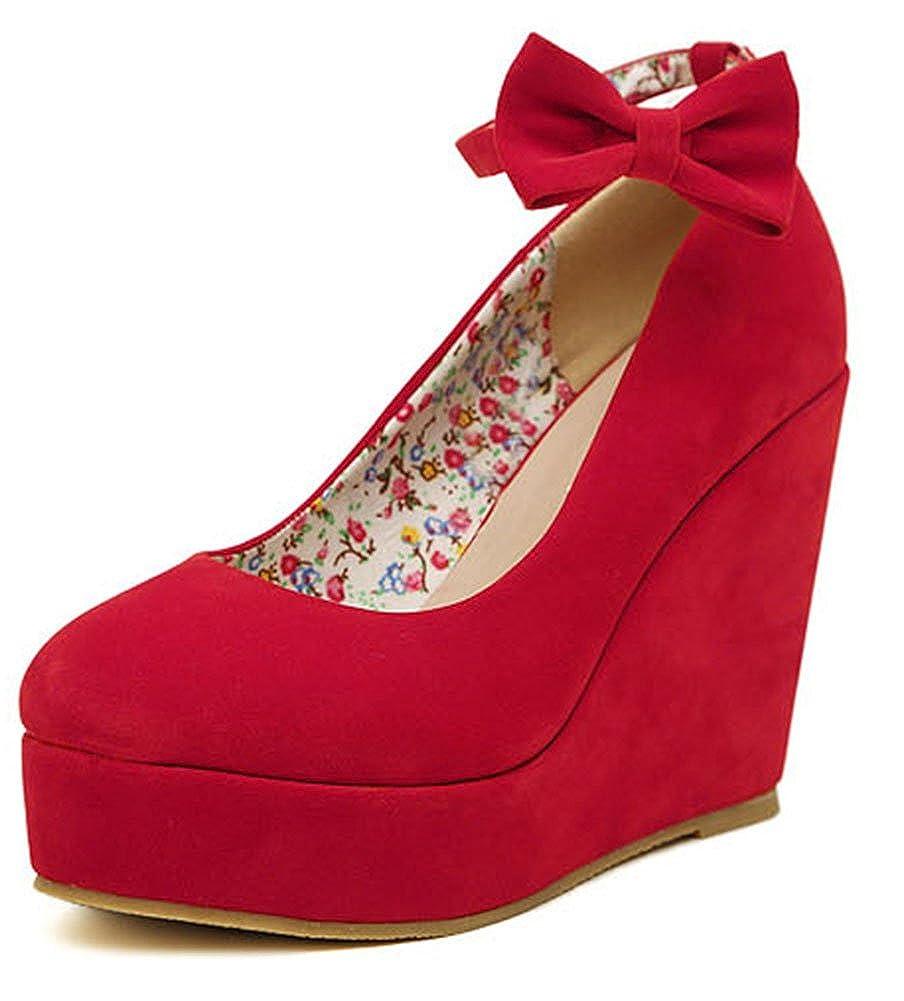 SHOWHOW Womens Sweet Bowknot Nubuck Ankle Strap Platform Pump