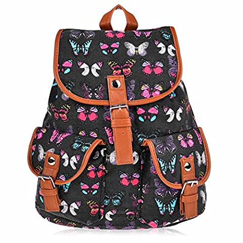 Vbiger Canvas Backpack for Women & Girls Boys Casual Book Bag Sports Daypack (Butterfly Black) (Backpack With Butterflies)