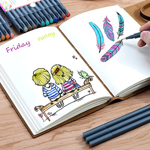 Smart Colored Pens for Journal Notebook Planner 2019-2020, Fine Point Pens Fine Tip Drawing Pens Colorful Markers for Journaling Writing Note Taking Calendar Art Coloring (36 Colors)