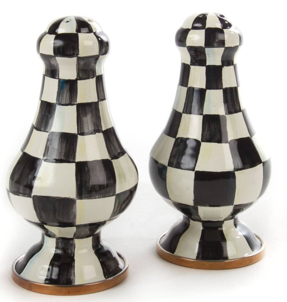 Courtly Check Enamel Large Salt & Pepper Shakers, BLACK/WHITE by MacKenzie-Childs