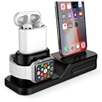 Coffea 3 in 1 Charging Station Compatible Apple Watch Series 4/3/2/1 Silicone Charging Dock Holder for iPhone and AirPods (Black)