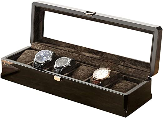 0LL Caja para Relojes, Caja Exposición para Relojes, Estuche Guardar Relojes o Joyas, Vitrina con 6 Compartimentos Franela Vidrio Transparente Cerradura (Color : A): Amazon.es: Hogar