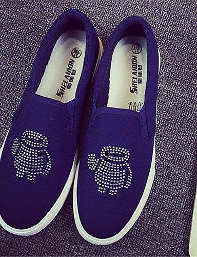 Gyht Black Cn37 punta Zq 5 Blanco Zapatos tacón 7 Blue tejido Redonda Cn36 5 De us6 Mujer us6 5 Eu37 Uk4 negro Bajo Azul casual Eu36 mocasines Uk4 dY6pqYw