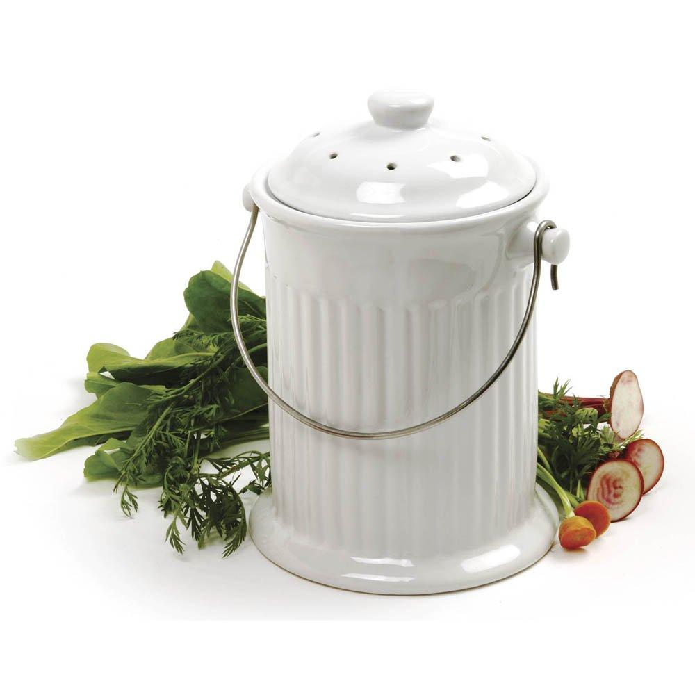 Amazon.com: Norpro 1 Gallon Ceramic Compost Keeper, White: Compost ...