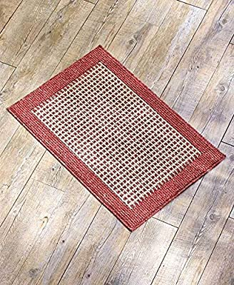 (USA Warehouse) Heathered Look Red Checkered Pattern Accent Rug Floor Mat Entryway Home Decor -/PT# HF983-1754435711