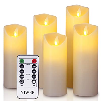 """YIWER LED Candles 5.5""""/6""""/6.5""""/7""""/8"""" Set of 5 Real Wax Battery Flameless Candles Include Realistic Dancing LED Flames and 10-Key Remote Control with 2/4/6/8-hours Timer Function 300+ Hours (Ivory): Home Improvement"""