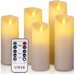 "YIWER LED Candles,5.5""/6""/6.5""/7""/8"" Set of 5 Real Wax Battery Flameless Candles Include Realistic Dancing LED Flames and 10-Key Remote Control with 2/4/6/8-hours Timer Function,300+ Hours (Ivory)"