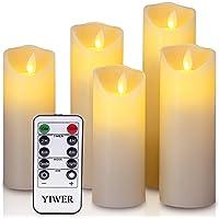 """YIWER LED Velas sin Llama Φ 2.2 x H 5.5 """"6""""6.5""""7""""8""""Juego de 5 Pilas de Cera Real no de plástico 10 Teclas con 2/4/6/8 Horas Función del Temporizador 300 Horas (5x1, Marfil)"""