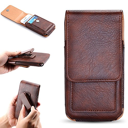 FLOVEME Premium Magnetic Wallet PU Leather 360 Degree Rotation Clip-On Waist Bag Pack Flip Pouch Carry Case for Apple iPhone 6 Plus, iPhone 6s Plus, iPhone 7 Plus, iPhone 8 Plus, Brown