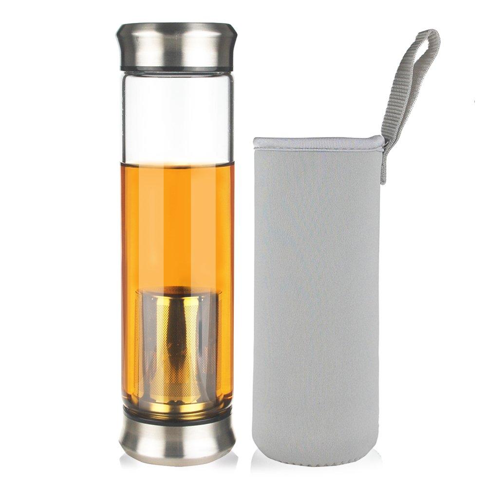 Reeho® Tragbare 500ml Sportflasche Trinkflasche aus Glas, BPA-frei ...
