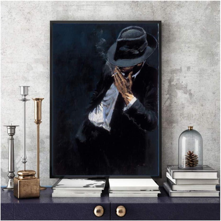 feitao Cool Man Canvas /Ölgem/älde Smoking Man In Black Suit Poster und Drucke Gem/älde Wandbilder f/ür Home Living Room Decoration 20x28 Zoll No Frame