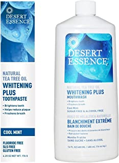 product image for Desert Essence Natural Whitening Plus Tea Tree Oil Bundle - 1 Unit of 6.25 Ounce Toothpaste & 16 Fl Ounce Mouthwash - Refreshing Taste - Promotes Healthy Mouth - Complete Oral Care