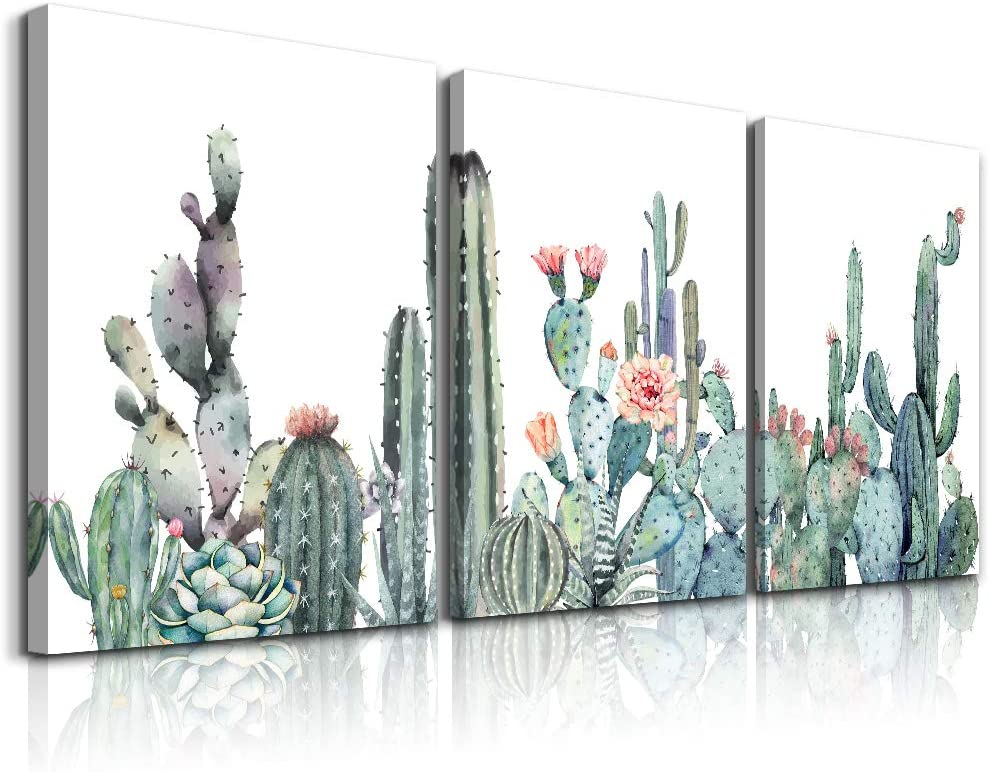 "Canvas Wall Art for bedroom living room Canvas Prints Artwork bathroom Wall Decor Green plants cactus flower watercolor painting 16"" x 24"" 3 Pieces modern Framed Ready to hang Office Home Decoration"