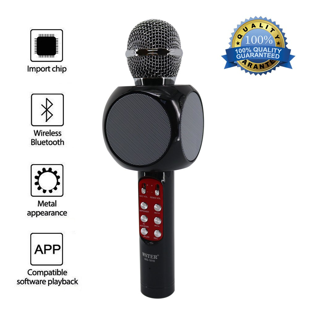 Mic 3-in-1 Bluetooth Magic Karaoke Machine Wireless Microphones Handheld Speaker For Apple iPhone Android Smartphone PC Music Playing Singing Home KTV (WS1816 Black) JDSenYe
