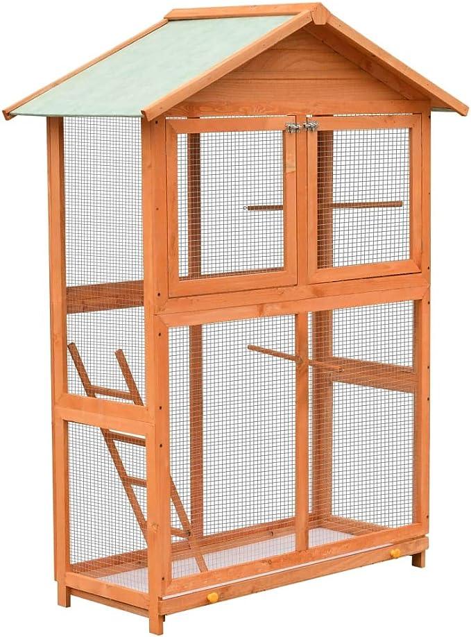 pedkit Jaula para Pájaros Jaula de Aves Canarios Jaula para pájaros Madera Maciza de Pino y Abeto 120x60x168 cm