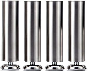 4X 200mm (Height) Qrity Cabinet Stainless Steel Legs Kitchen Feet Worktop TV Desk Table Legs Furniture Sofa Legs - Rubber Mat - Safe & Silent - Dia 50mm