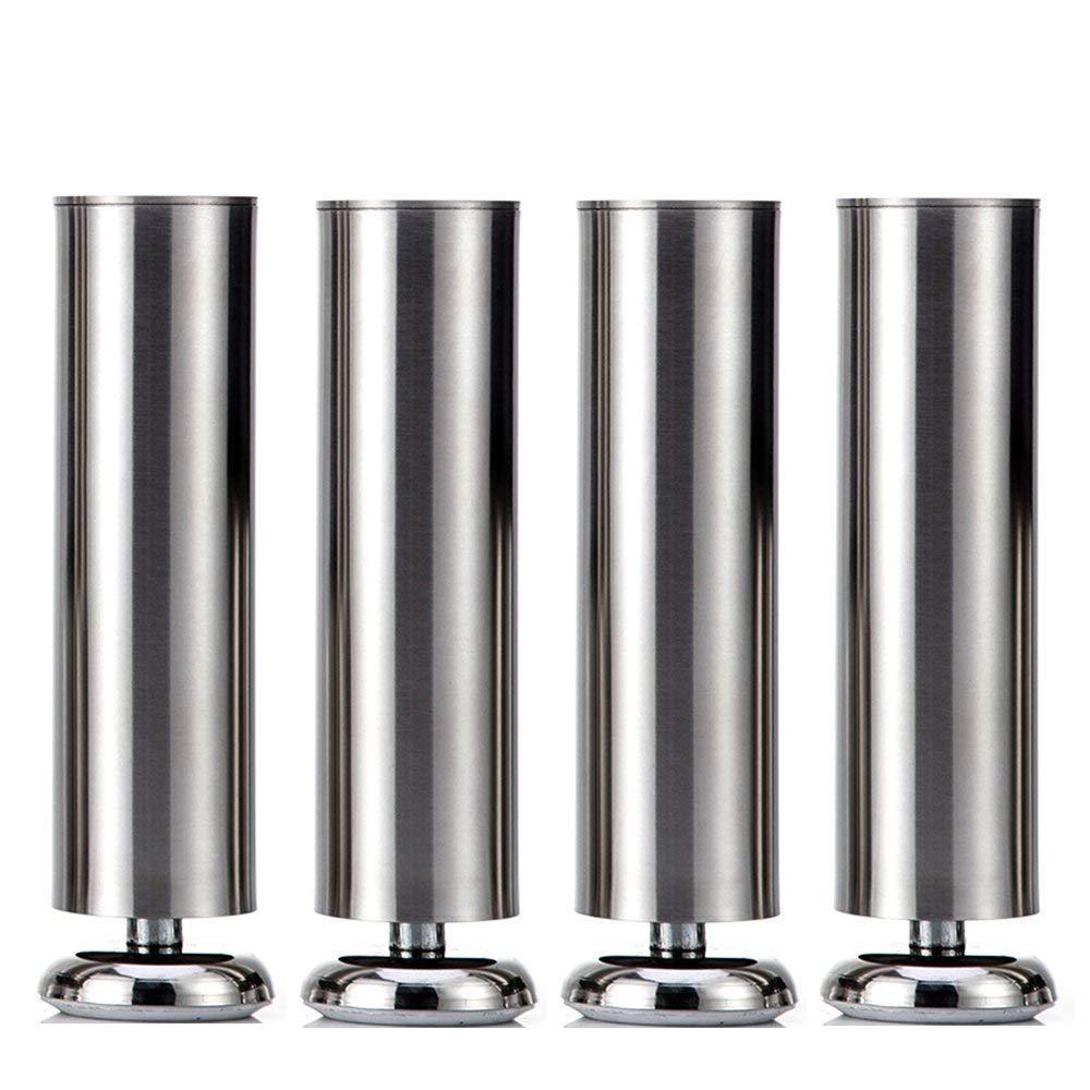 Qrity 4X 150mm Cabinet Stainless Steel Legs Kitchen Feet Worktop TV Desk Table Legs Furniture Sofa Legs - Rubber Mat - Safe & Silent - Dia 50mm