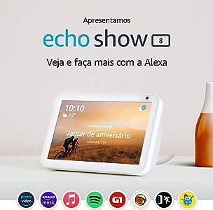 """Echo Show 8 - Smart Speaker com tela de 8"""" e Alexa - Cor Branca"""