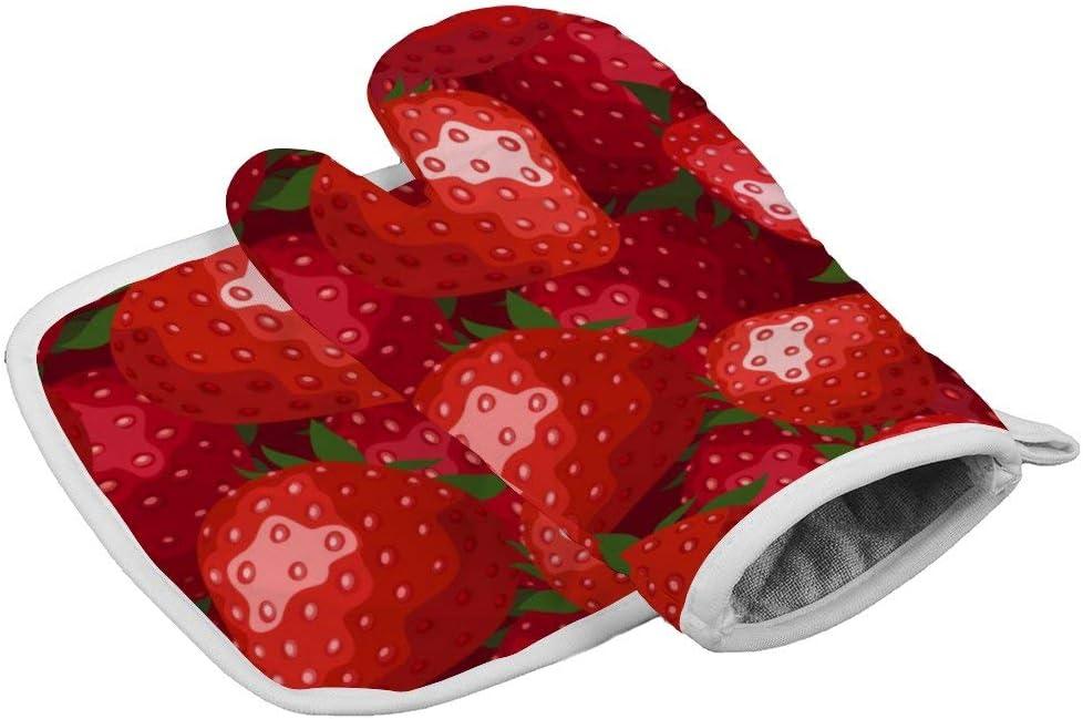 SILYHEART Oven Mitts Insulation Gloves Fruit Strawberry Pattern Cute Oven Mitt and Pot Holder Set Insulation Gloves Heat-Resistant Kitchen Set