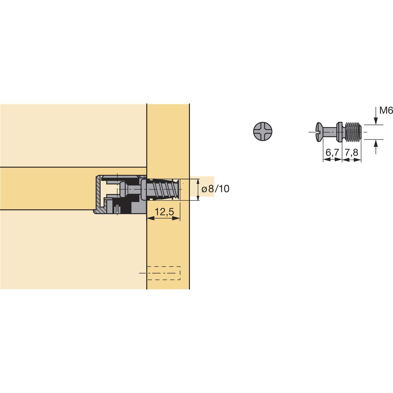 Hettich VB 35//36/tasselli di avvitamento 79650 M6/x 7,8/filettatura con angoli elasticizzati misura 6.7