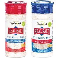 Redmond Real Salt - Natural Unrefined Sea Salt, 10oz Fine Salt Shaker with 10oz Kosher Salt Shaker