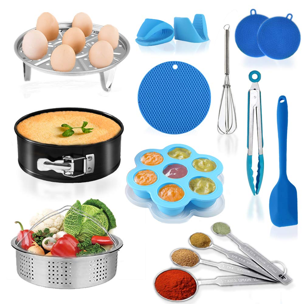 15pcs Cooking Accessories Set Compatible with Instant Pot 6,8 Qt Pressure Cooker with Steamer Basket, Rack, Springform Pan, Egg Bites Mold, Mitts, Tong, Spatula, Sponges, Egg Beater, Spoon, Pot Holder