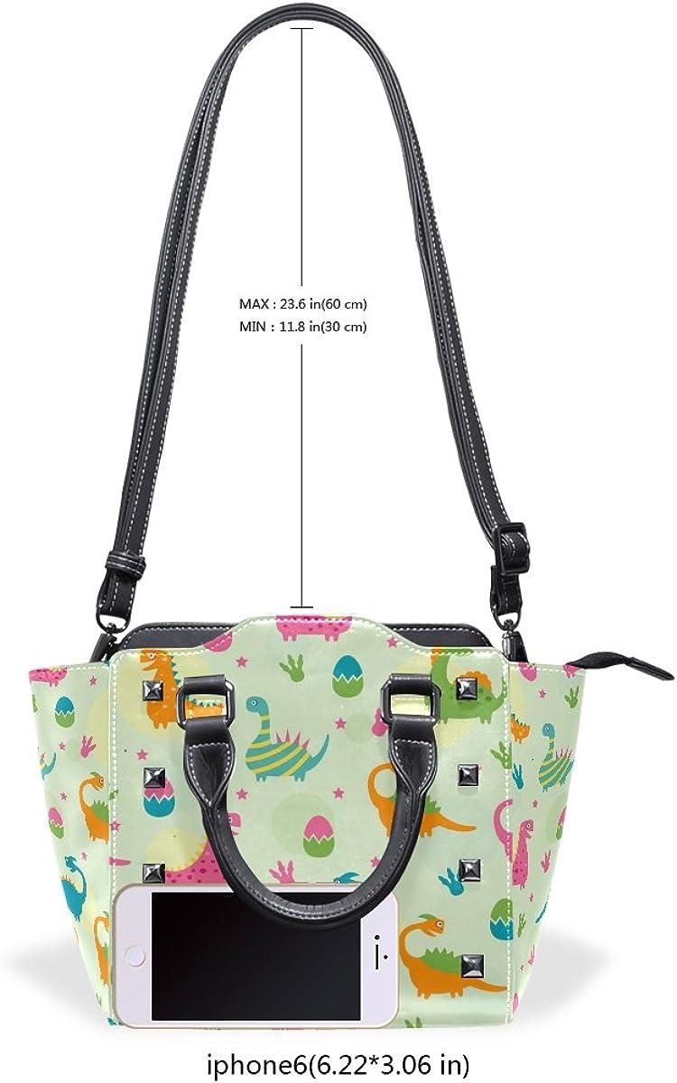imobaby Colorful Dinosaurs Eggs PU Leather Girls Top-Handle Handbags Single-Shoulder Ladies Tote Crossbody Bag Messenger Bags For Women