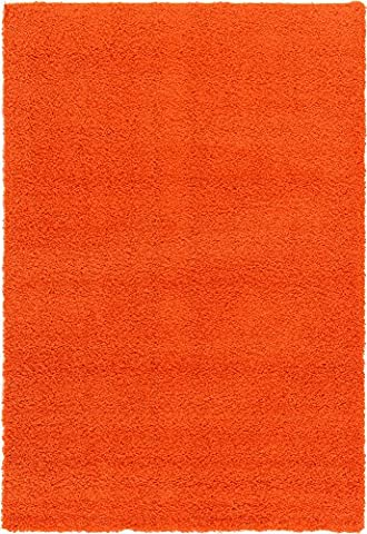 A2Z Rug Cozy Shaggy Collection 6x9-Feet Solid Area Rug - Tiger Orange (Kids Orange Rug)