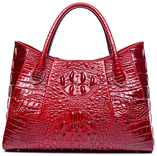 Malirona Women Top handle handbags leather Tote Bag Purse Shoulder Bags (Red) Croco Embossed Leather Tote Bag