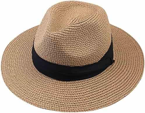 4aeaab528b0 FURTALK Summer Panama Straw Fedora Hat Wide Brim Beach Sun Hat with Neck  Cord