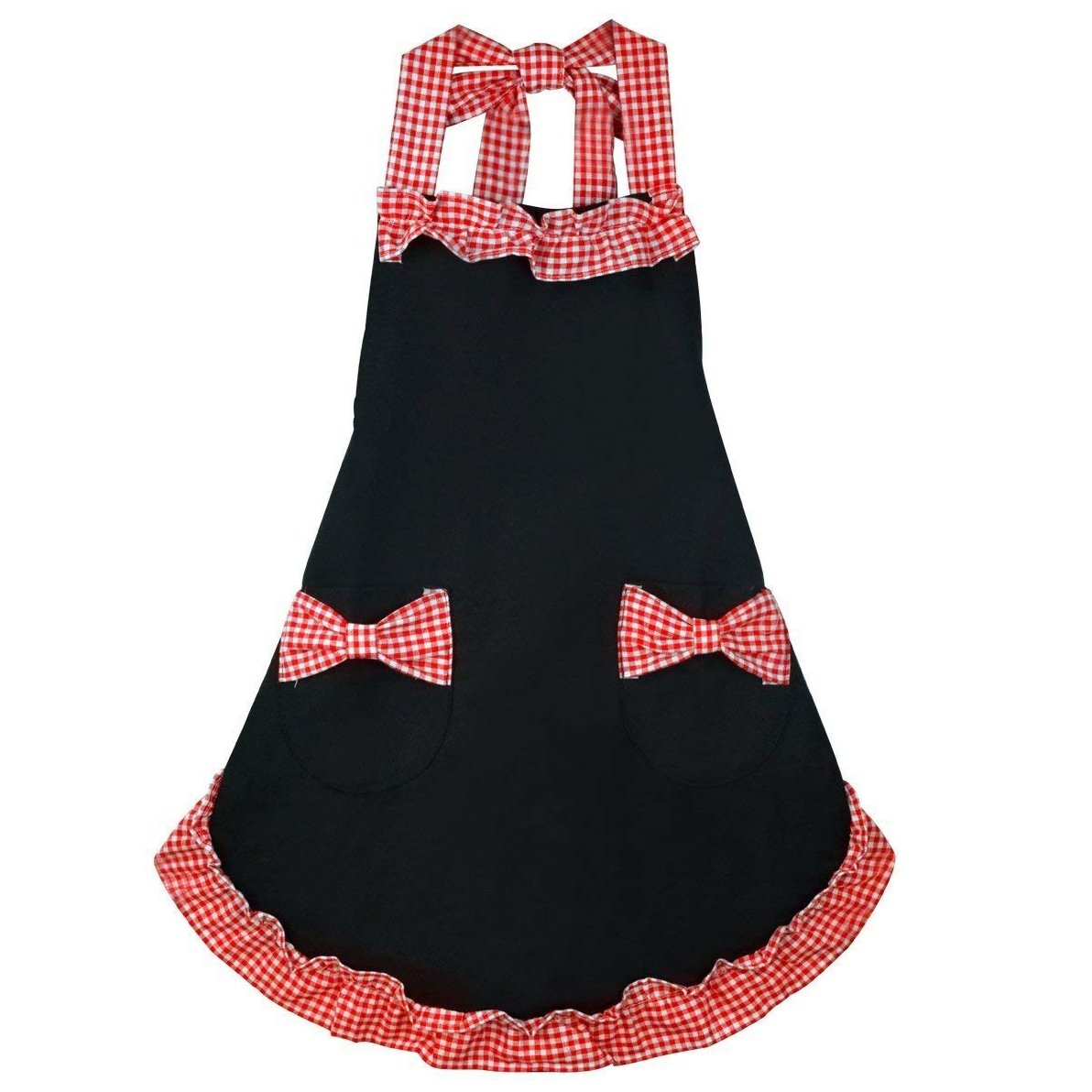 Marrywindix Kitchen Fashion Cute Sweety Hign Quality Cotton Grid Pattern Double Color Working Chefs Kitchen Cooking Cook Flirty Apron - with Bowknots Pockets Design (Black and Red)