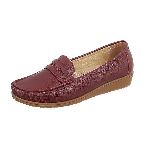 29b5c404f683b Ital-Design Chaussures Femme Mocassins Plat Mocassins Rouge Pointure 37