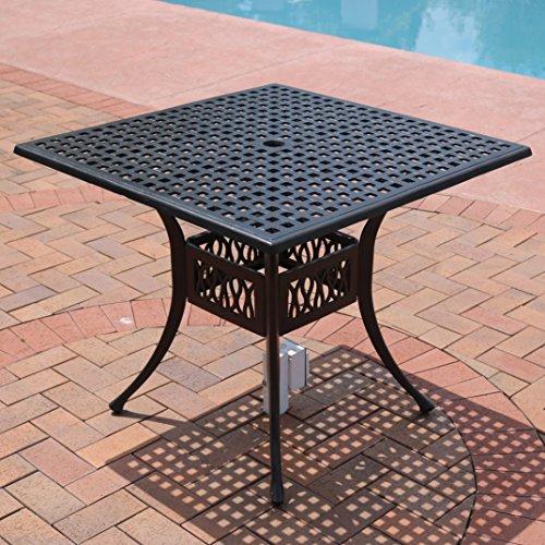 Cheap  Sunnydaze 35-Inch Outdoor Black Cast Aluminum Square Dining Table