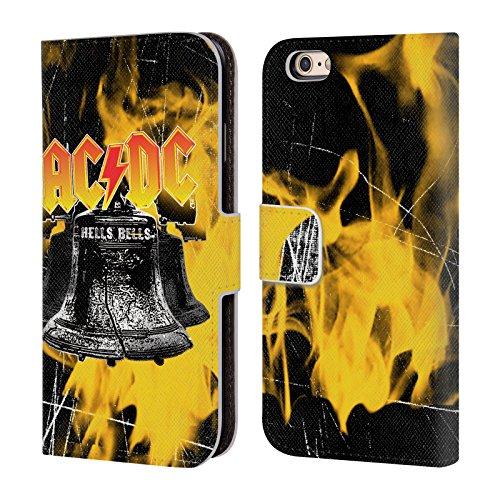 Officiel AC/DC ACDC Flammes Et Cloches Logo Étui Coque De Livre En Cuir Pour Apple iPhone 6 / 6s