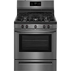 Frigidaire FFGF3054TD 30 Inch Freestanding Gas Range with 5 Sealed Burner Cooktop, 5 cu. ft. Primary Oven Capacity, in Black Stainless Steel