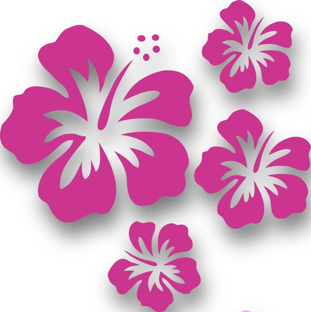 Mixed Set Hibsikus Blüten 4 Stück Pinke Autoaufkleber Blumen Sticker Outdoor Wandtattoo Fensterbild Hibiscus Hawaii Küche Haushalt