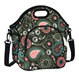 Lunch Box Neoprene F40C4TMP Washable Foldable Insulated Reusable Lunch Bag Women Girls