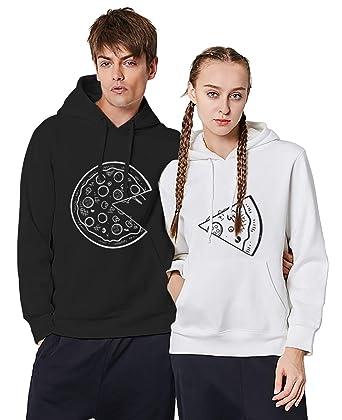 Sudadera Pareja Impresión Pizza Pullover King Queen con Capucha 2 Piezas para Mujer Hombre Sweatshirt Encapuchado Couple Blanco Negro: Amazon.es: Ropa y ...