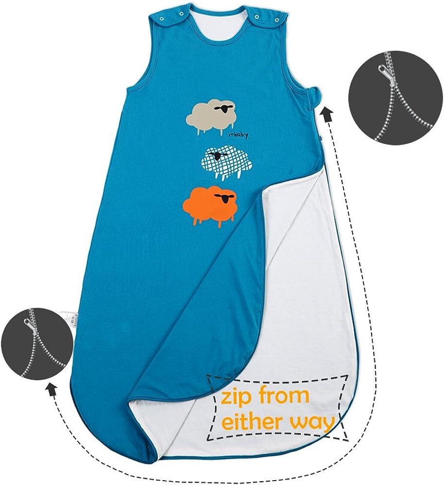 i-baby Saco de Dormir Infatil Beb/é Ni/ños Ni/ñas 1.5 TOG Sin Mangas Bolsas de Dormir Suenos Pijama Mantas de Algod/ón Recubierto con Cremallera para 1 2 3 a/ños Dibujos Animados