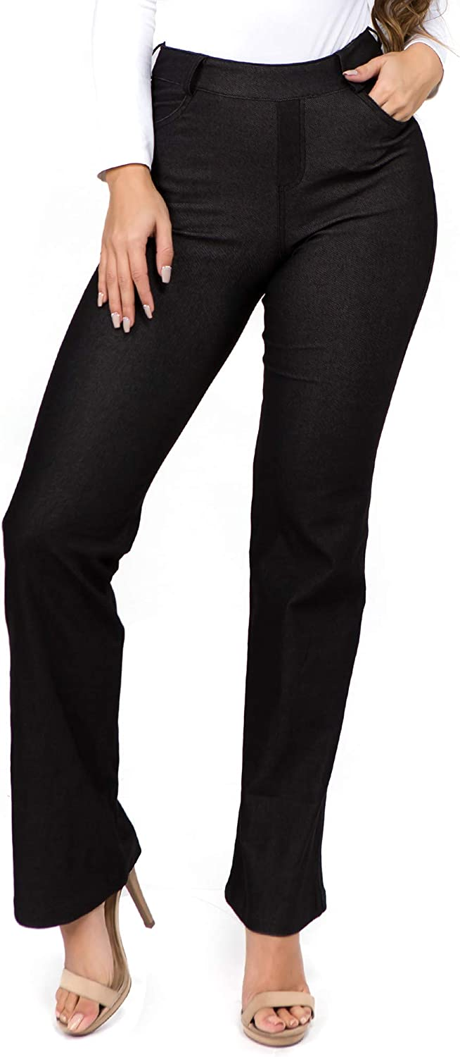 ICONOFLASH Womens Stretch Jeggings with Pockets Slimming Cotton Pull On Jean Like Leggings Regular-Plus Size