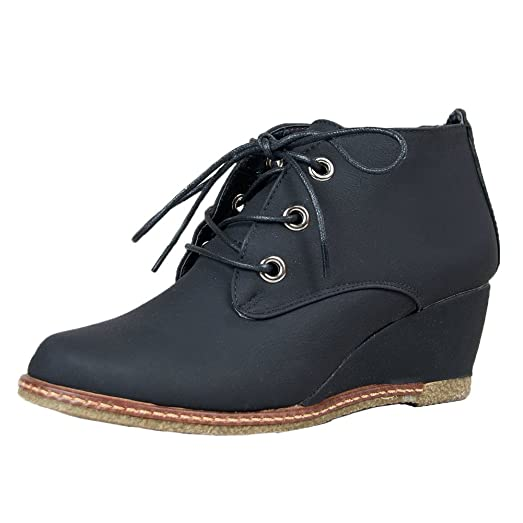 Willow-01 Nubuck Round Toe Lace Up Wedge Boots