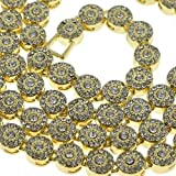 Dancing Stone Flower Cluster 36'' Chain Golden Finish CZ Iced-out Clear Stone Men Bling Necklace