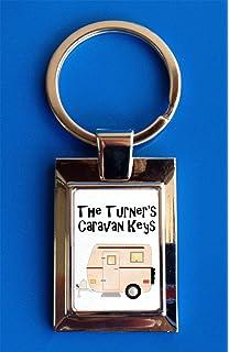 Personalised Family Name Caravan Keys Metal Keyring Birthday Gift Present