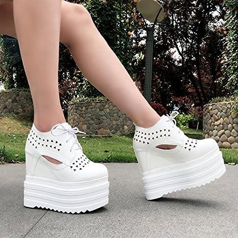 XiaoGao spesso in testa rotonda sola scarpa 14 centimetri di scarpe casual,black